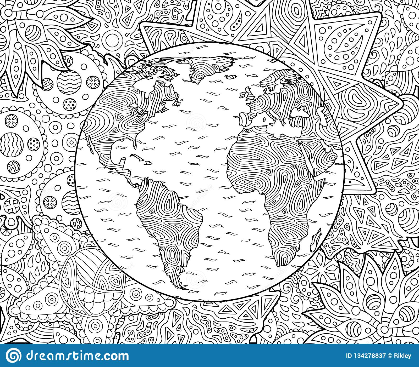 Adult Coloring Book Page With Planet Earth Stock Vector