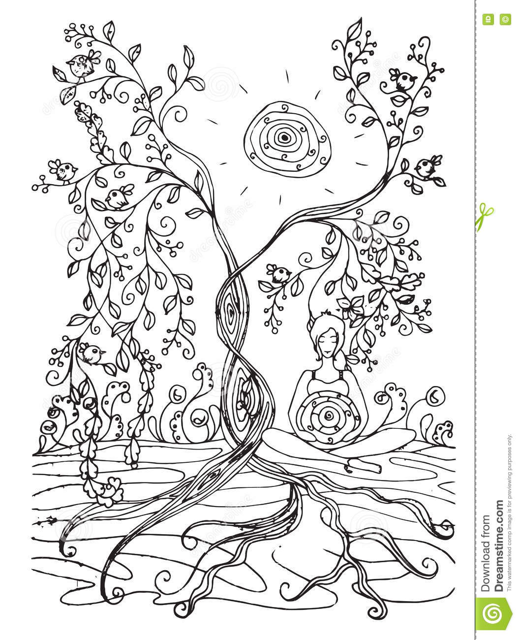 Adult Coloring Book Page With Pregnant Ladyegnancy In Doodle Style Stock Photo