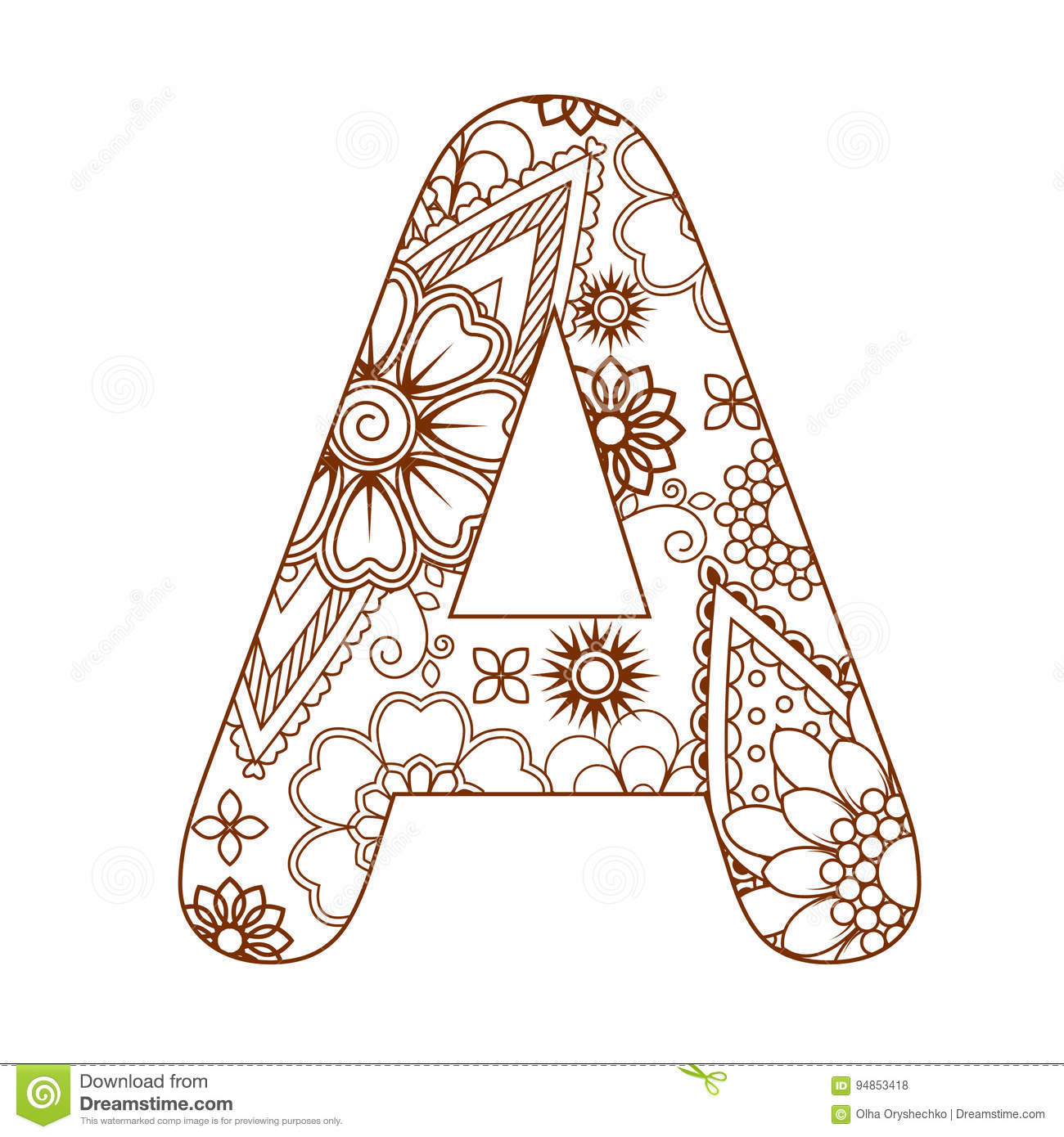 Adult Coloring Page With A Letter A Of The Alphabet