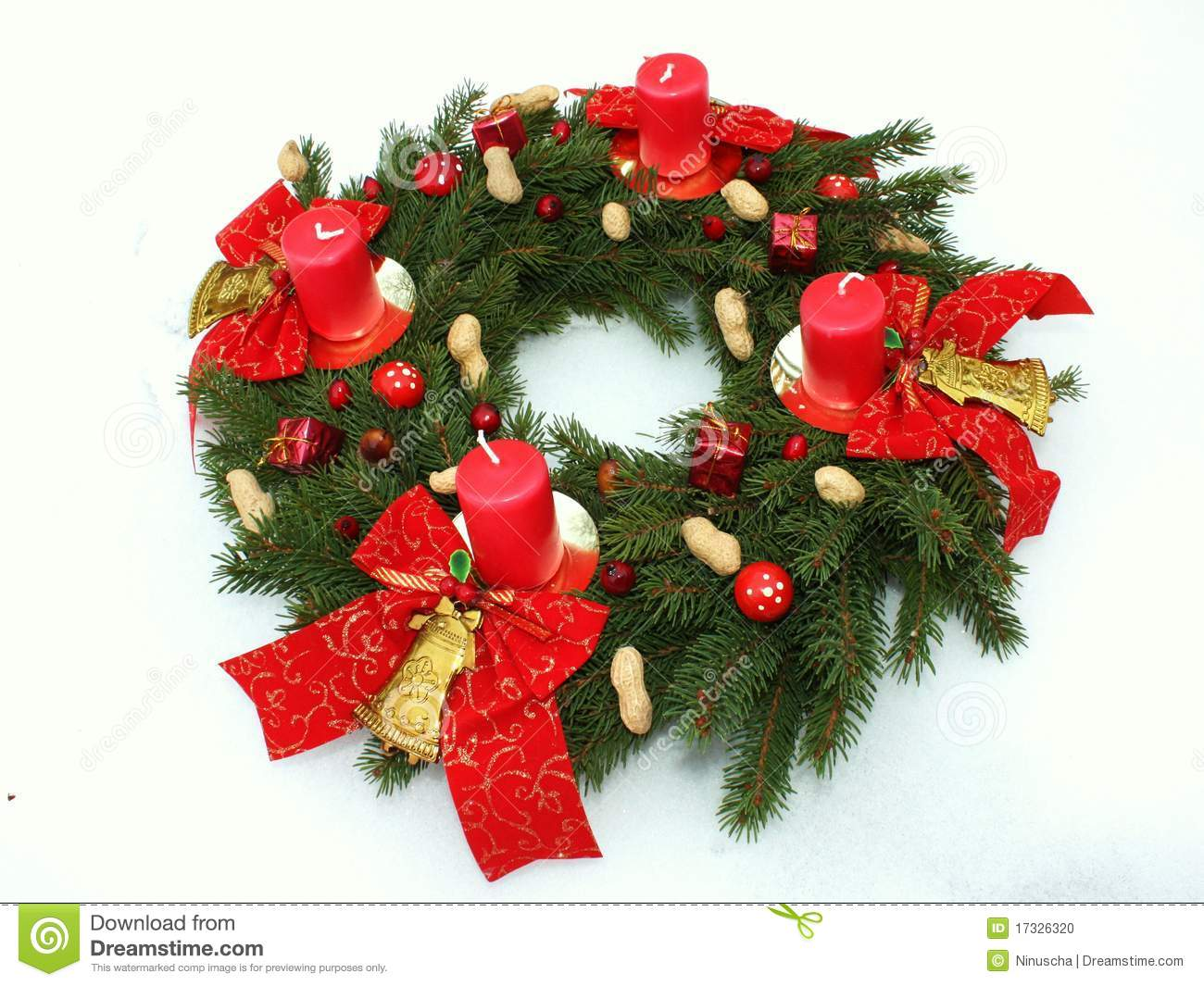 Advent Wreath With Four Christmas Candles Stock Photo