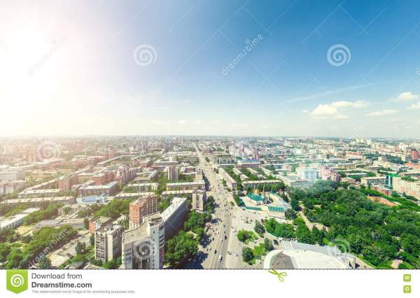 Aerial City View. Urban Landscape. Copter Shot. Panoramic ...