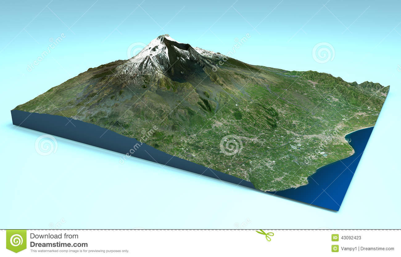 Aerial View Of Mount Etna Sicily Map Stock Illustration