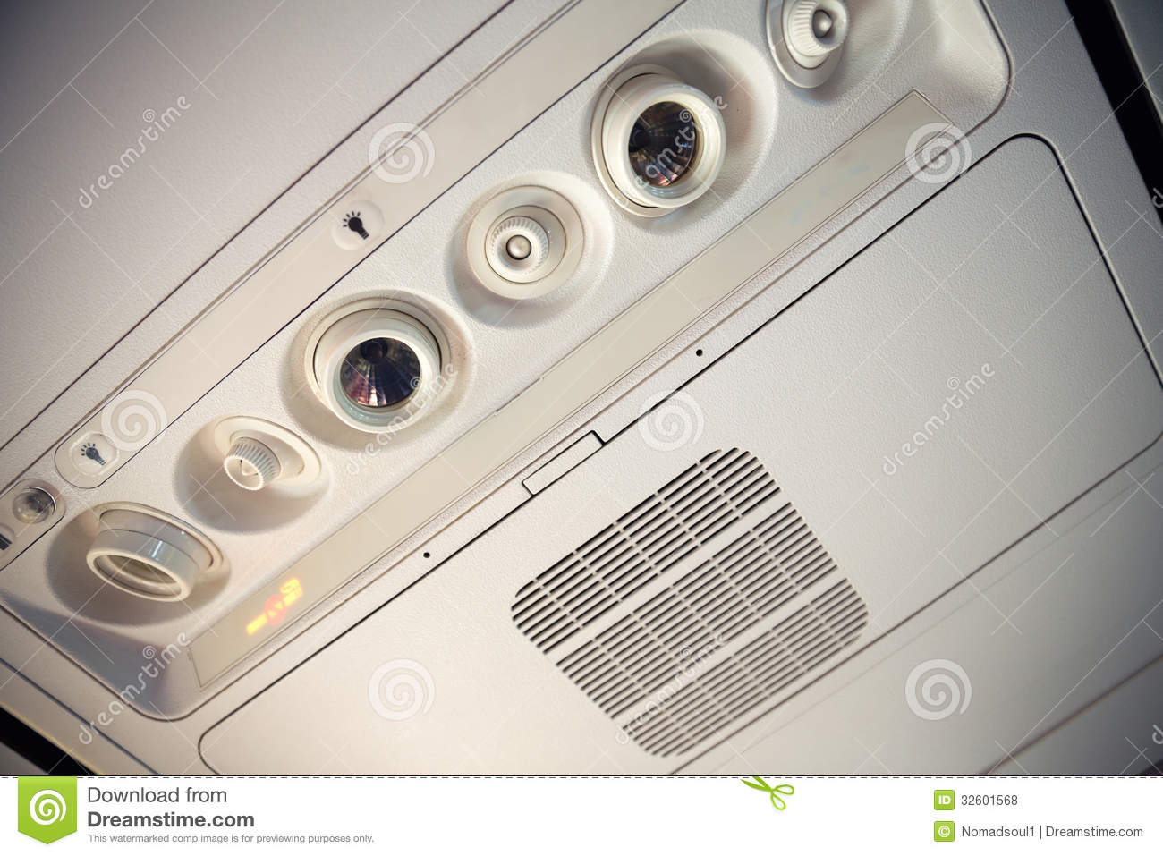 Aeroplane Overhead Console Stock Photo Image Of