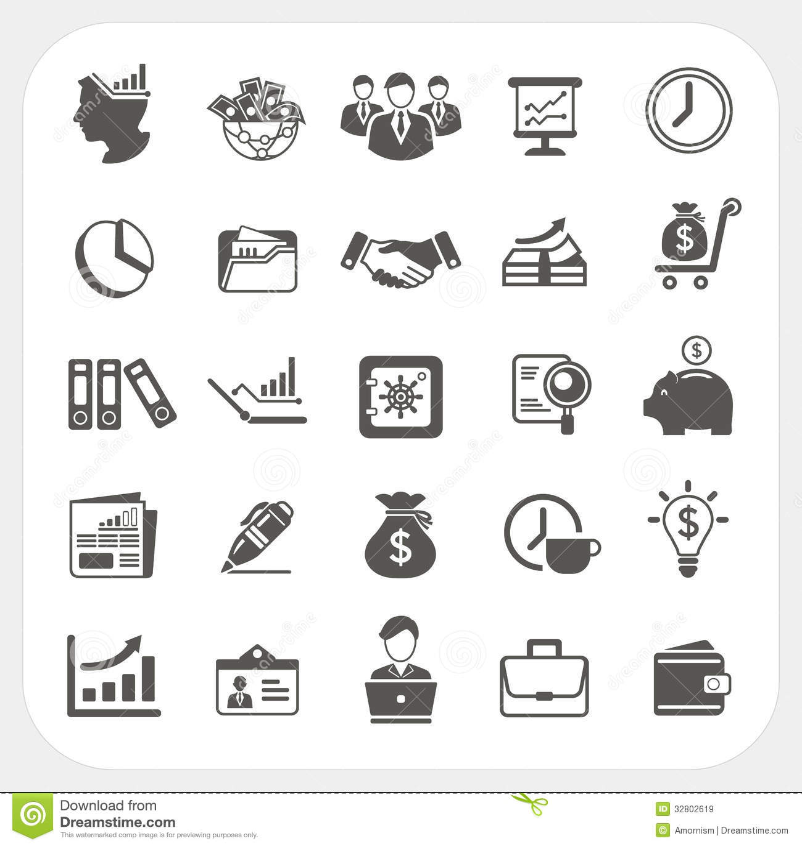 Affaires Icones De Finances Reglees Illustration De