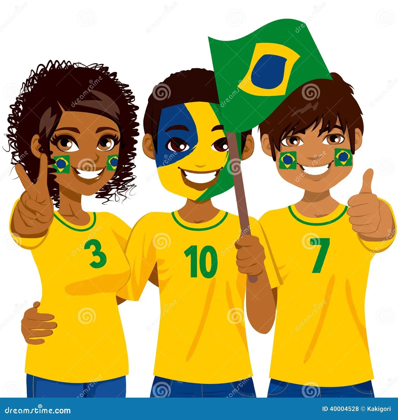 Aficionados Al Futbol Brasilenos Ilustracion Del Vector