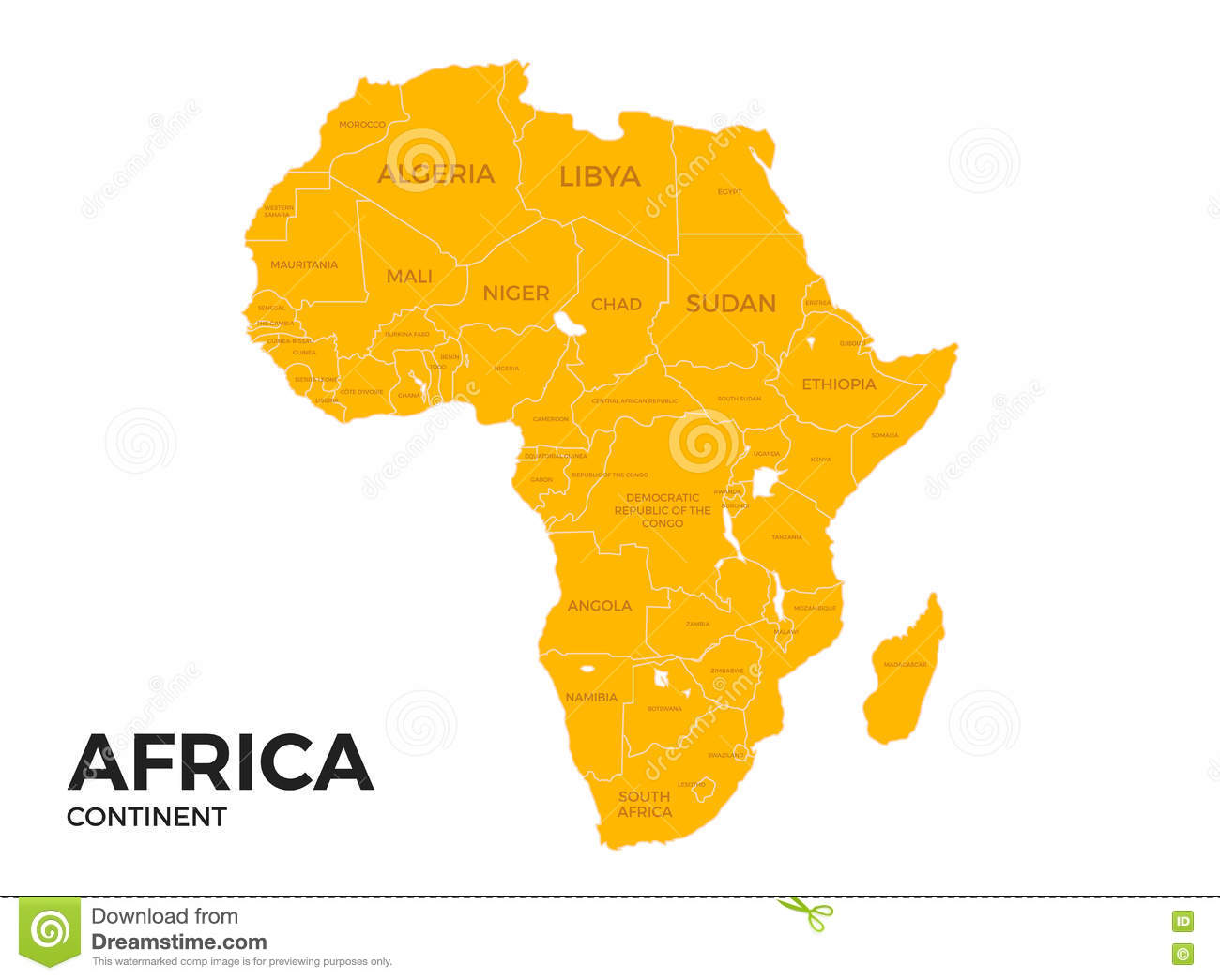 Africa Continent Location Map Stock Vector