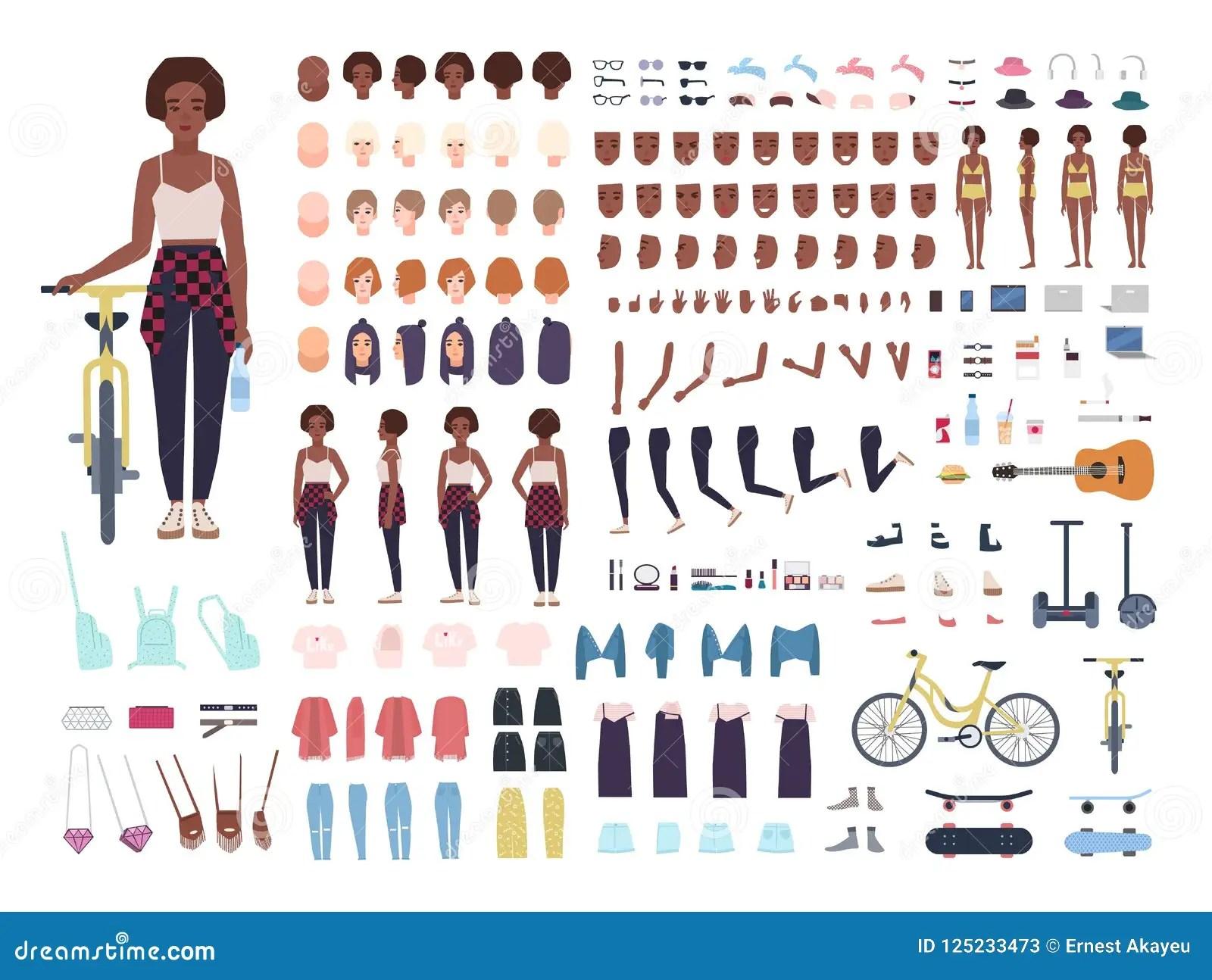 African American Teenage Girl Animation Kit Or Avatar