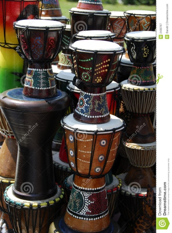 African Art On Drums Royalty Free Stock Photography