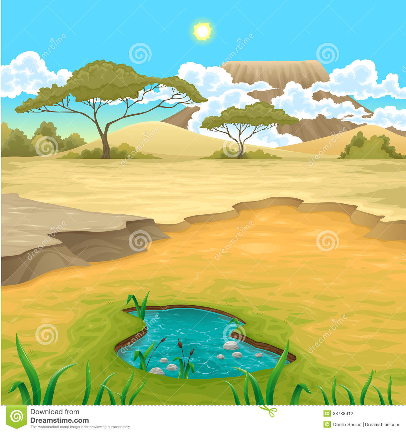 African Landscape Stock Vector Illustration Of Tree