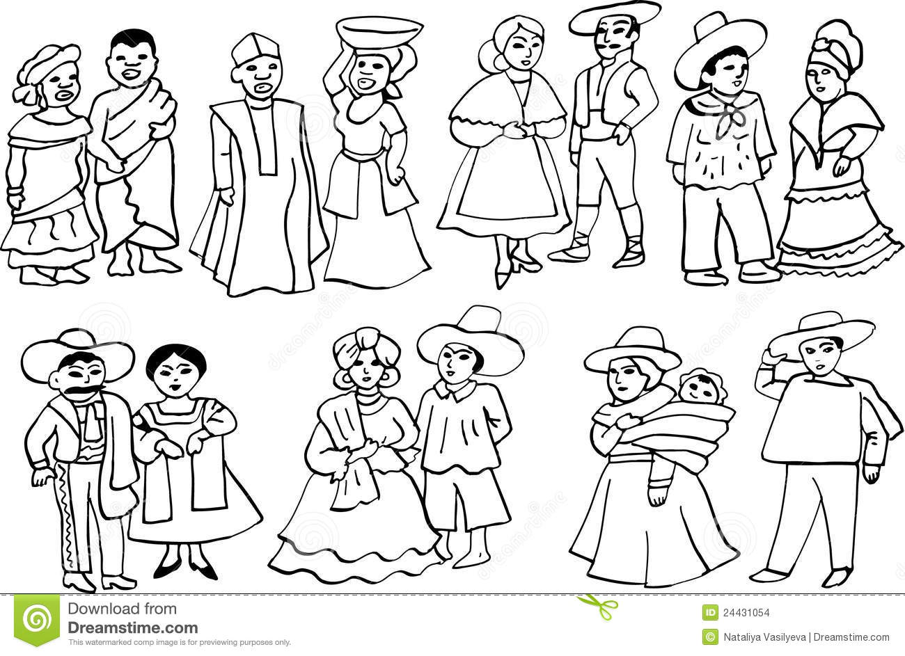 African And Latin American National Costumes Stock Vector