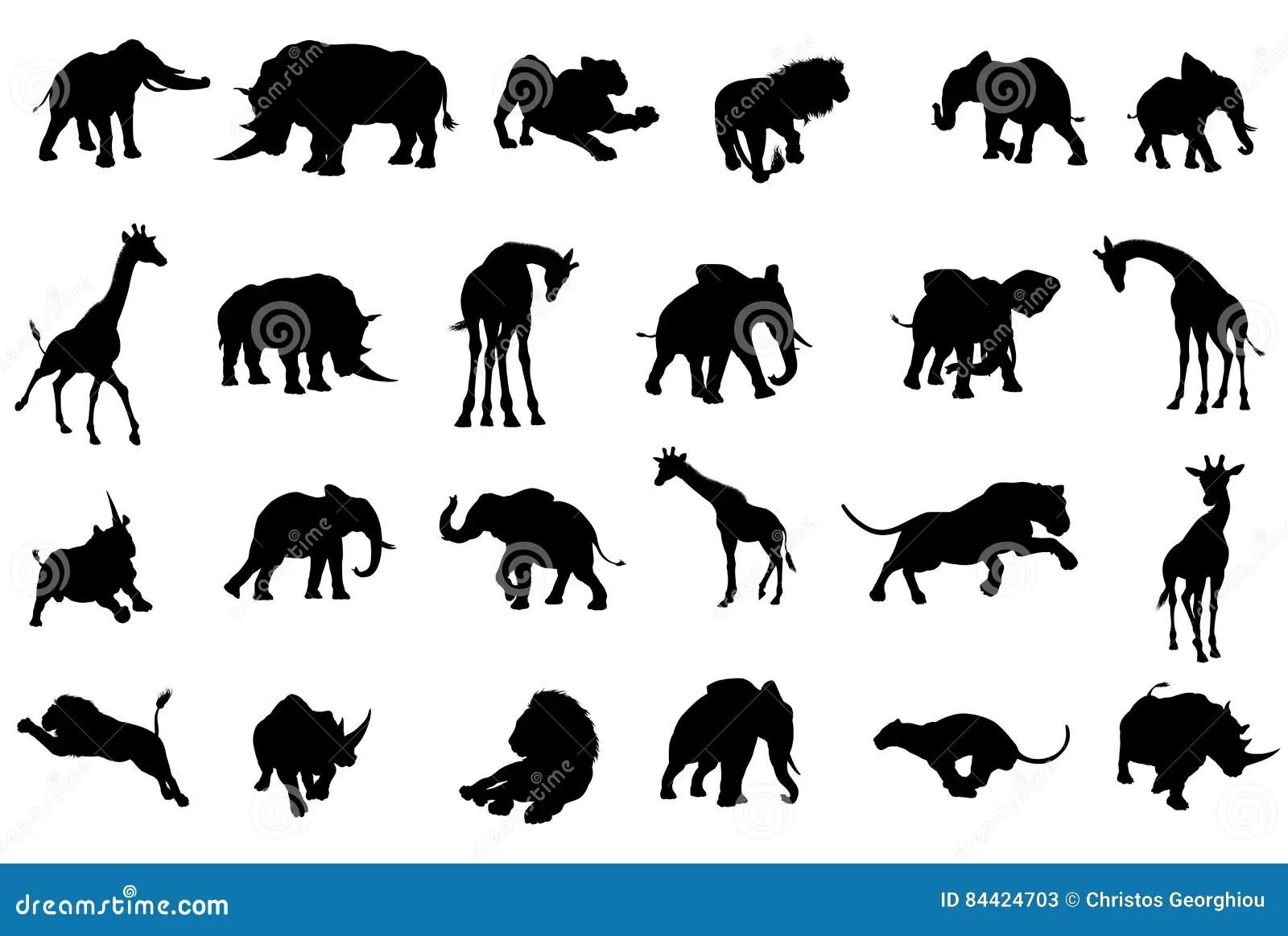 Afrikan Safari Animals Silhouettes Vektor Illustrationer