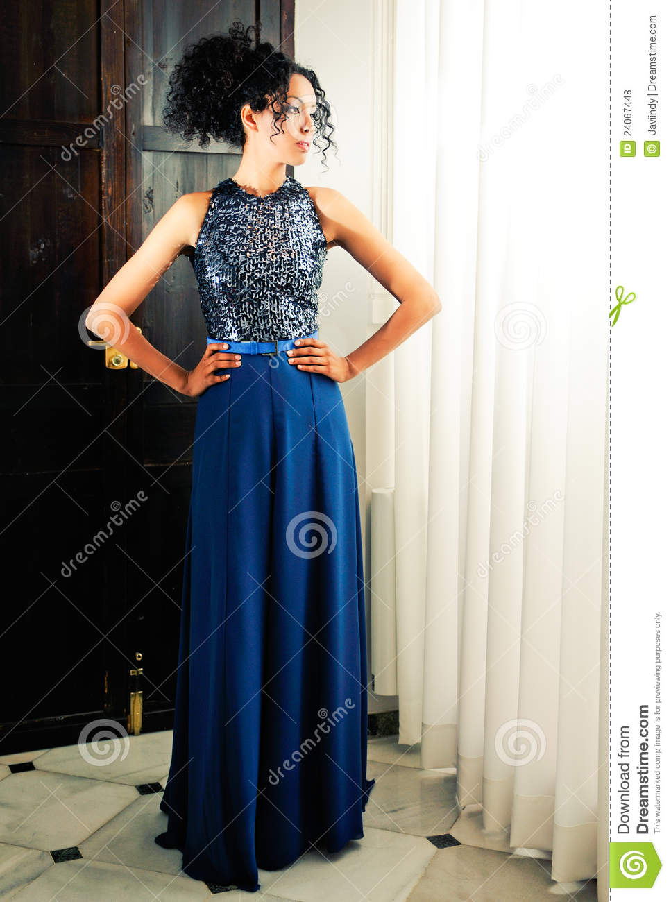 Afro Hair Woman Model Of Fashion With Blue Dress Stock