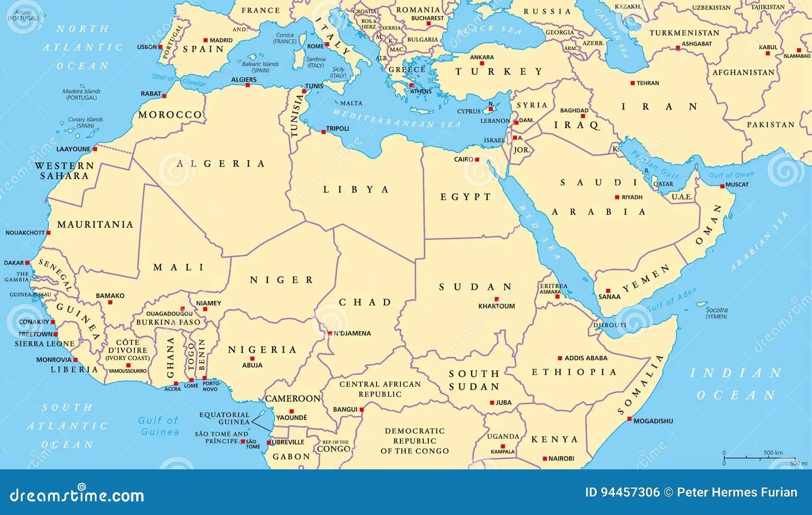 Afryka Polnocna I Rodkowy Wschod Polityczna Mapa