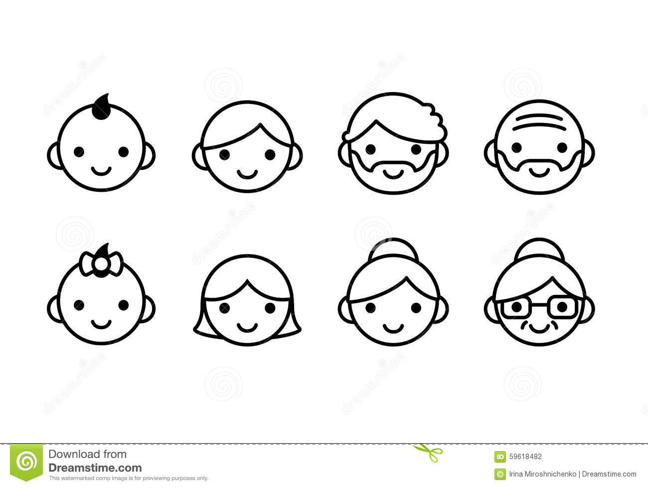 Ages Icons Stock Vector Illustration Of Line Elderly