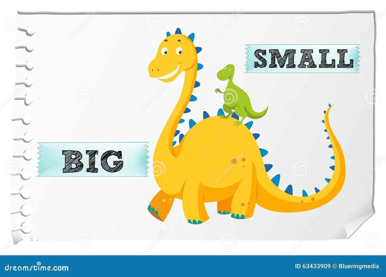 Aggettivi Opposti Con Grande E Piccolo Illustrazione