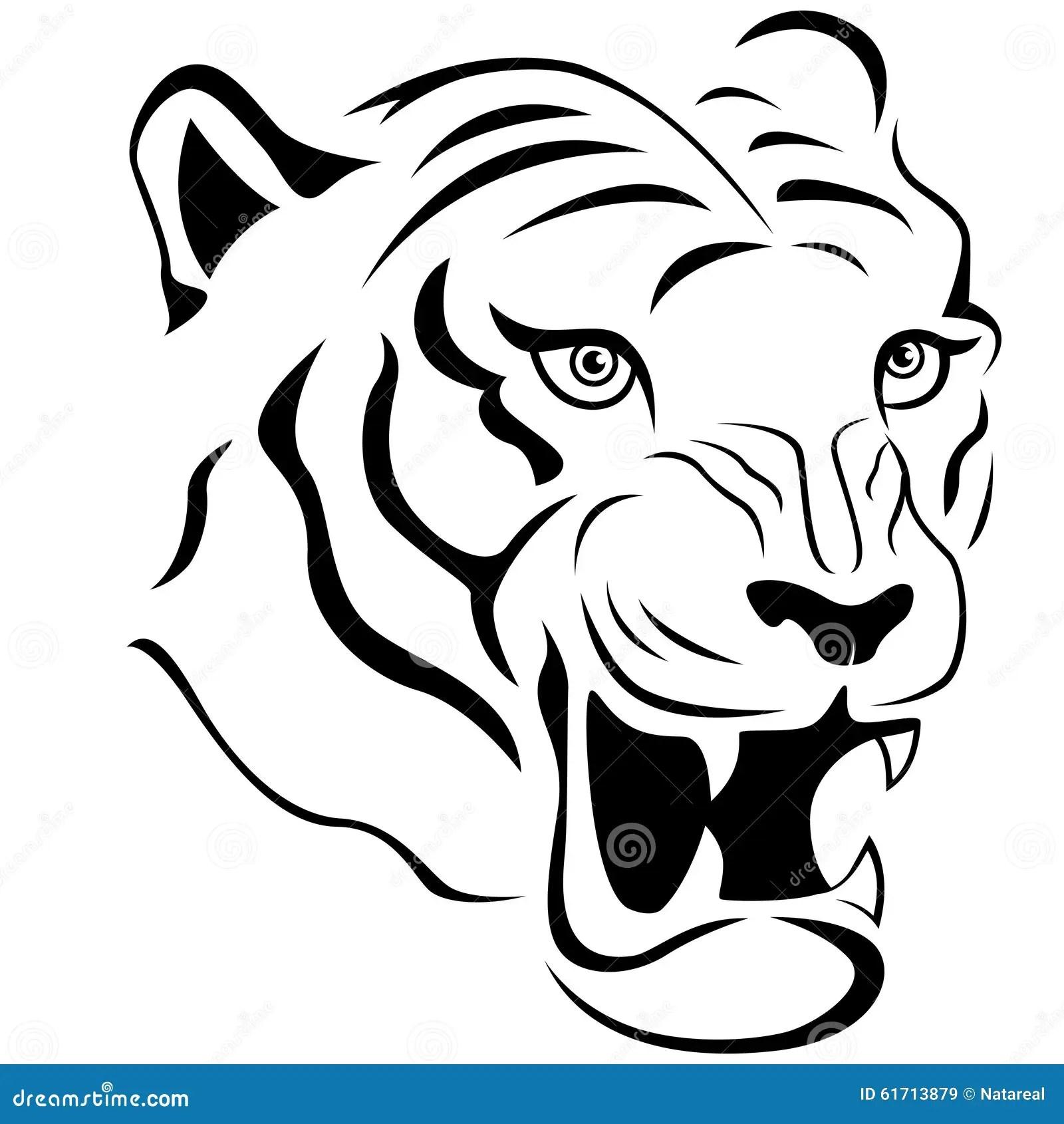 Aggressive Tiger Head Close Up Stock Vector