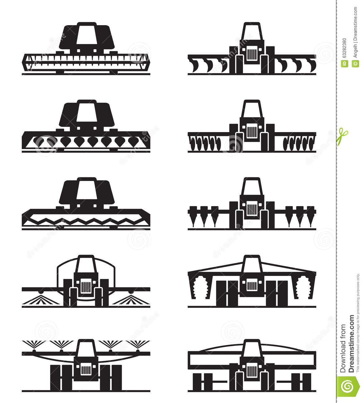 Agricultural Machinery Icon Set Stock Vector