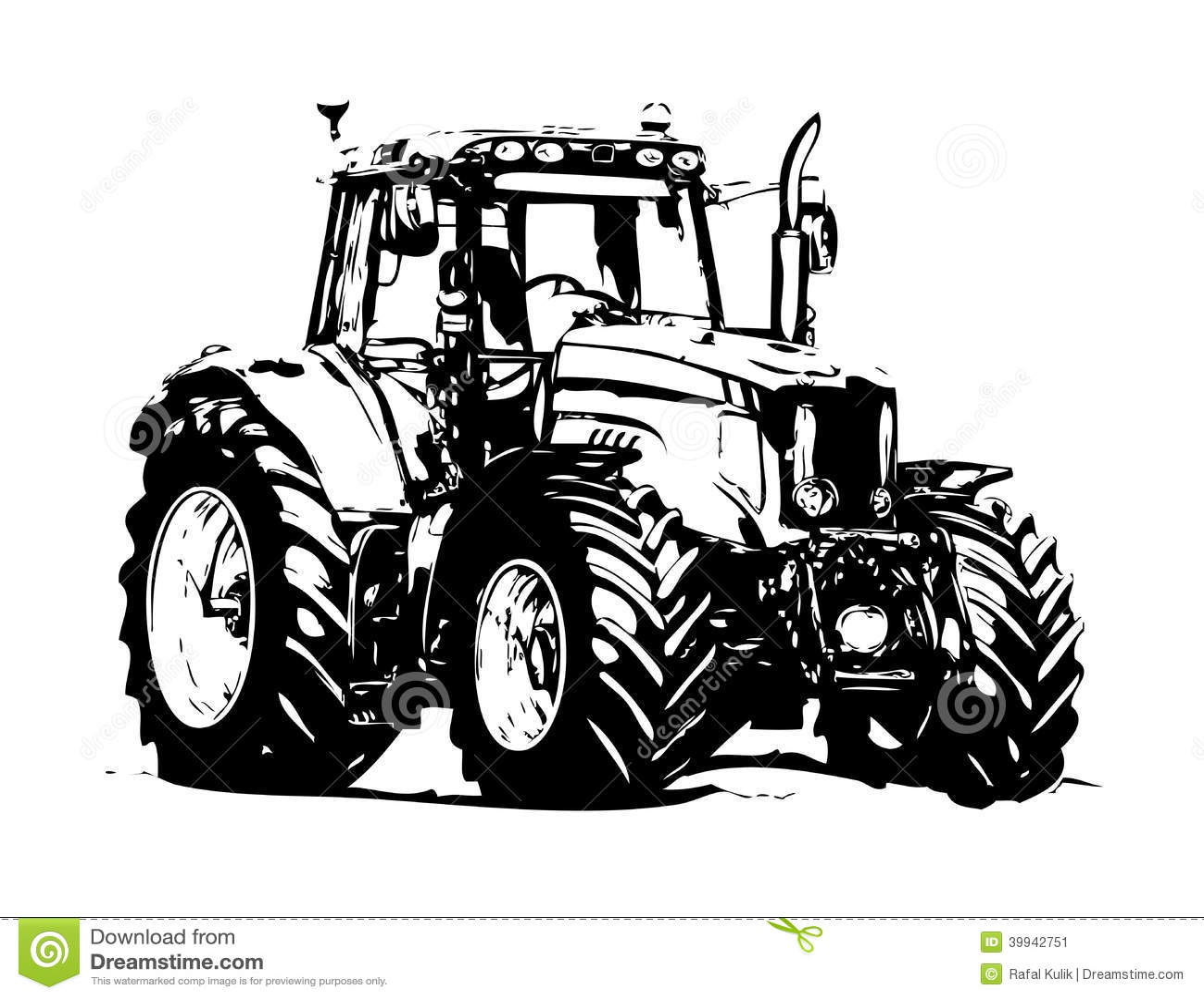 Agricultural Tractor Illustration Art Stock Illustration
