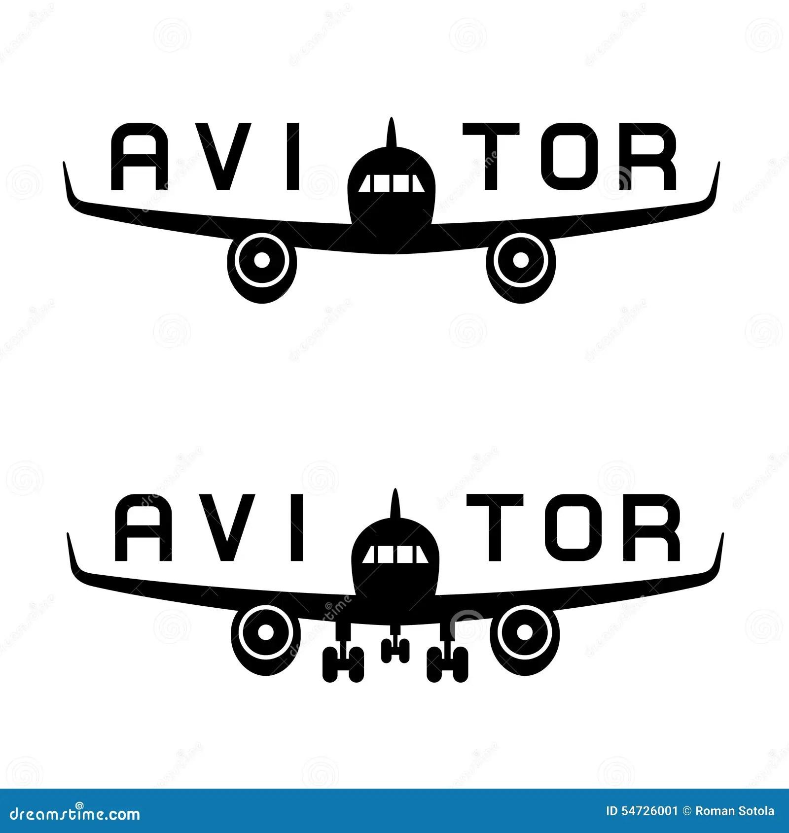 Aircraft Aviator Inscription Black Icon Stock Vector