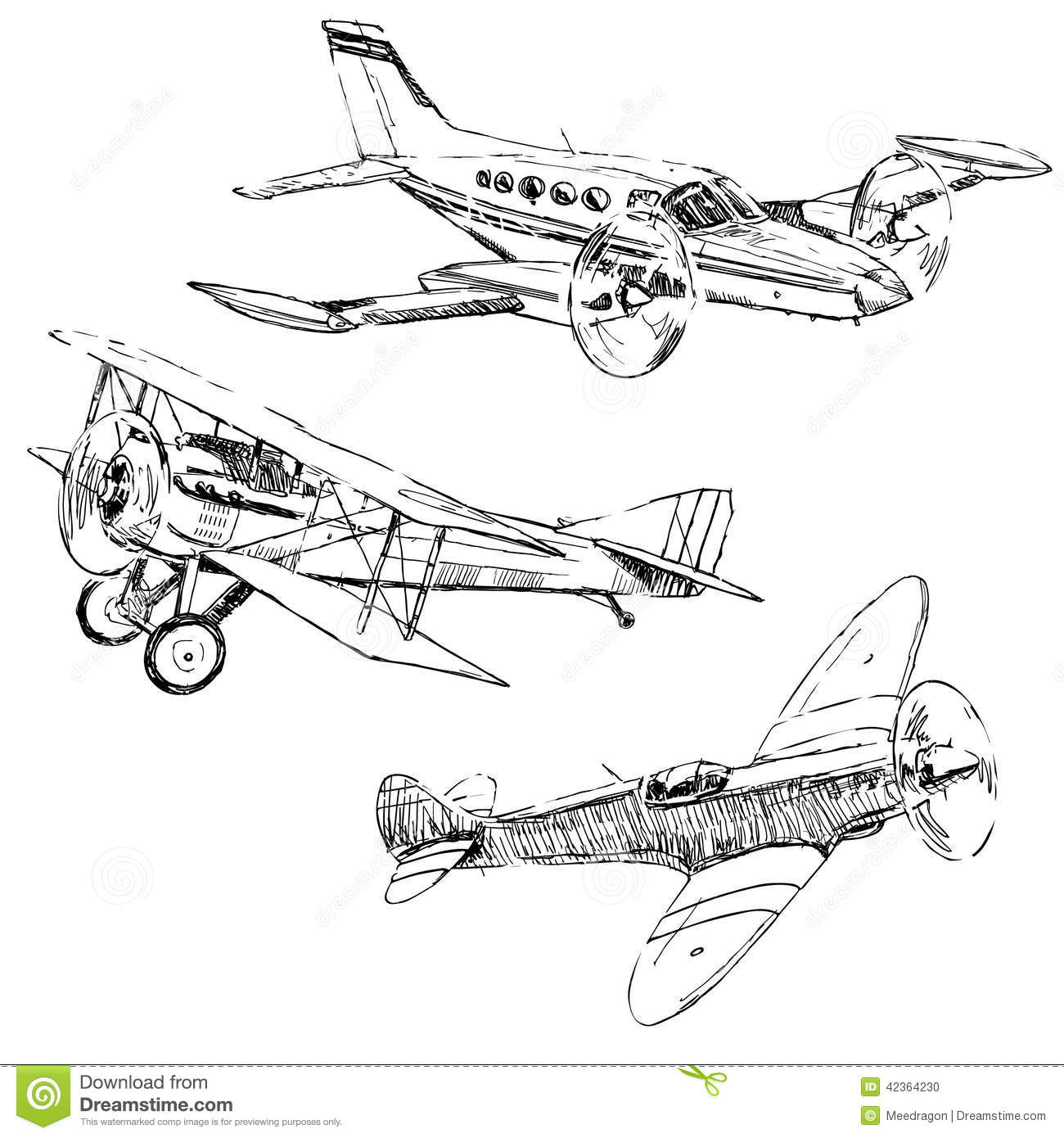 Airplanes Drawings Stock Vector