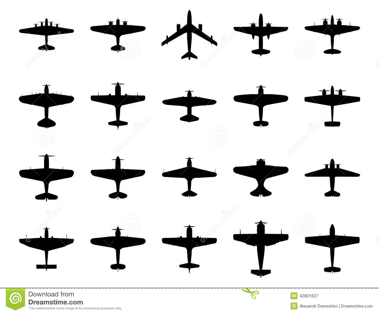 Airplanes Silhouette Set Stock Vector Illustration Of