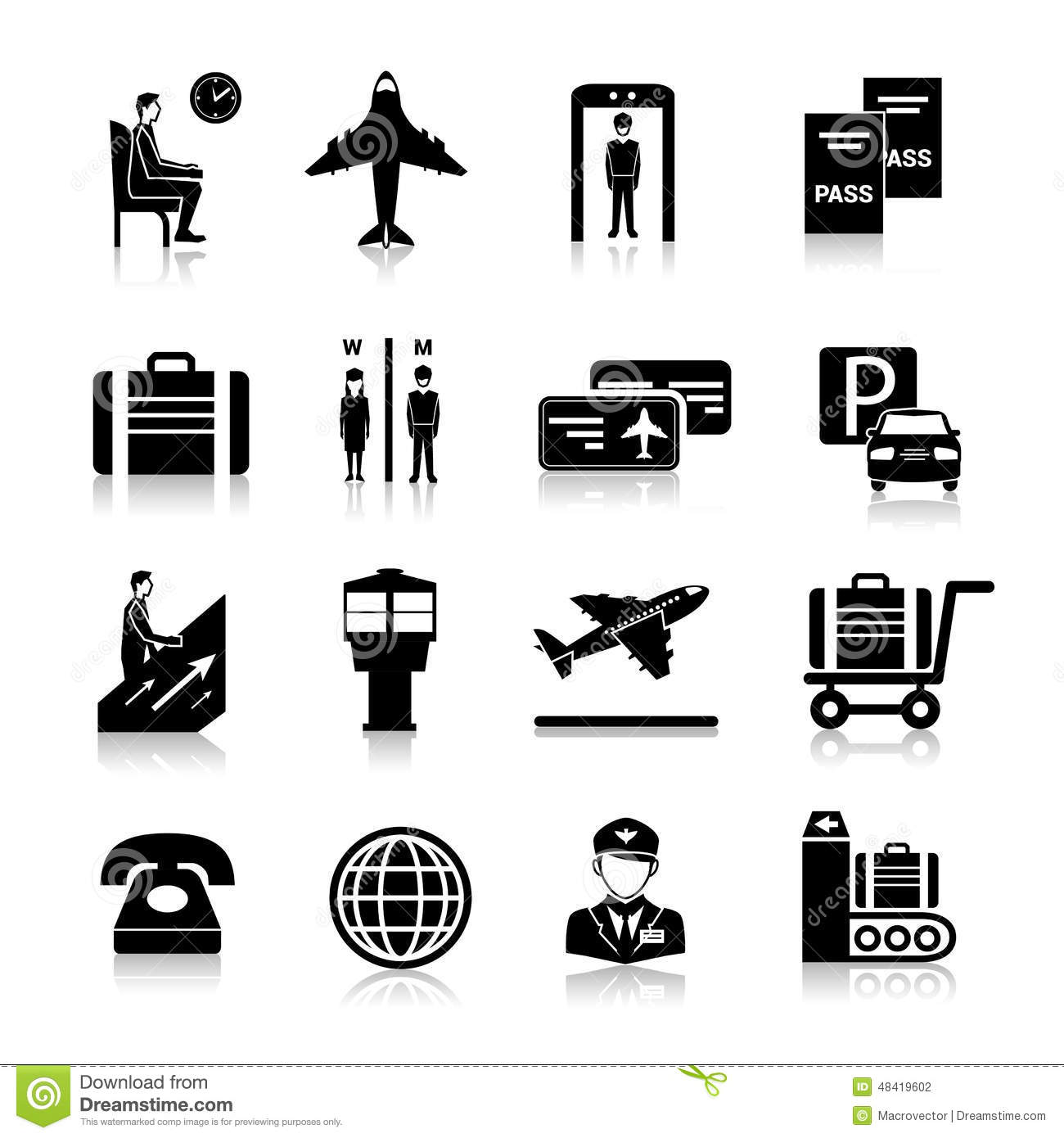 Airport Icons Black Stock Vector Illustration Of Control