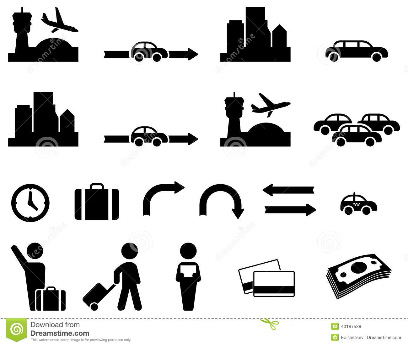 Airport Transfer Icon Set Stock Vector Image Of Land