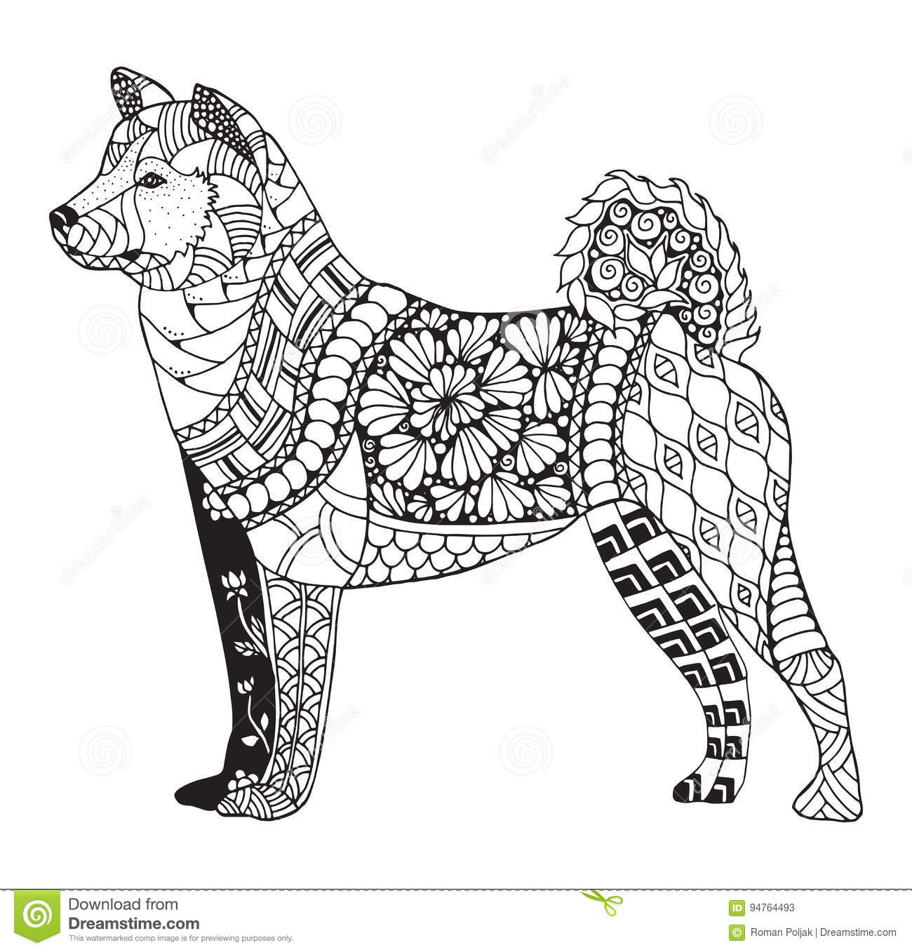 Akita Dog Zentangle Stylized Vector Illustration Freehand Pen Stock Vector