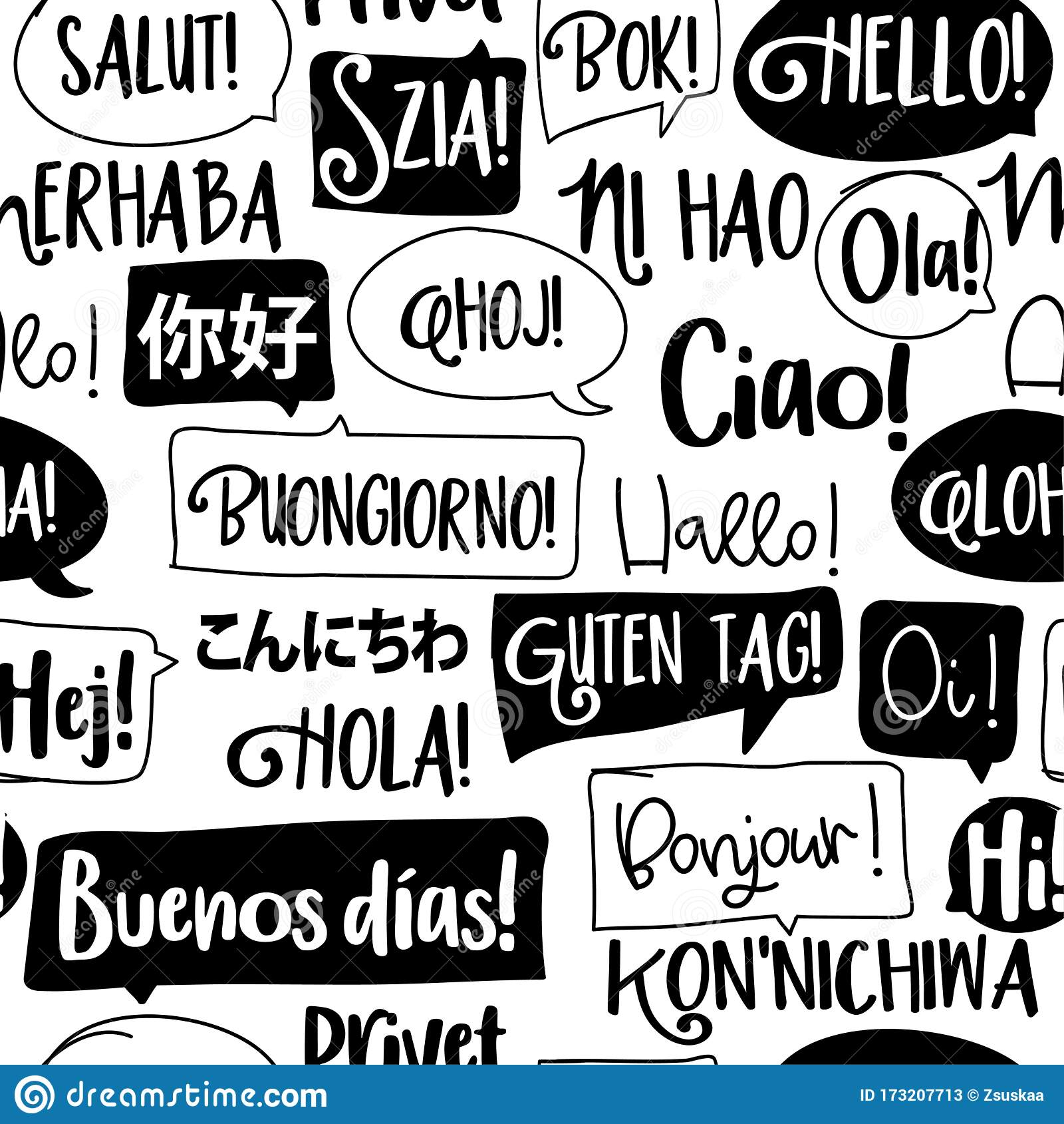 Hello Word In Different Languages Stock Vector