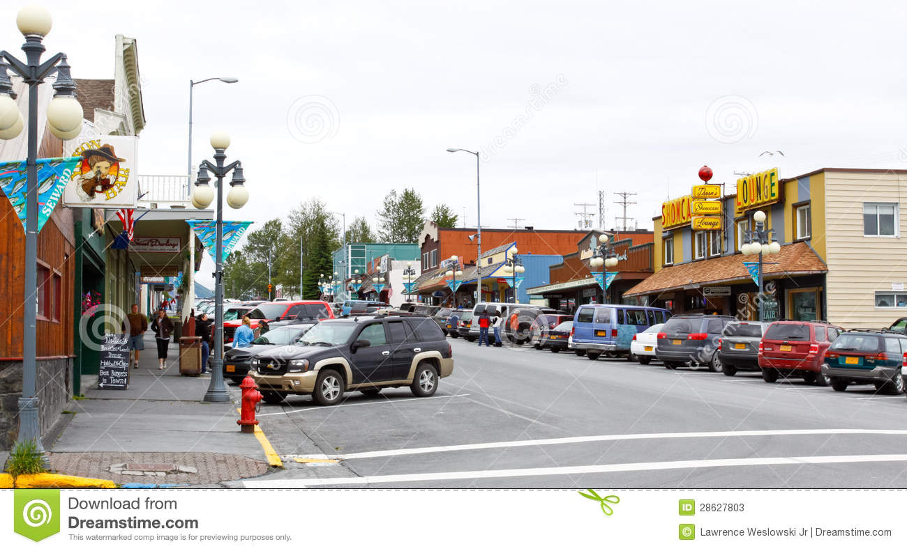 Alaska Downtown Seward 4th St Editorial Stock Photo