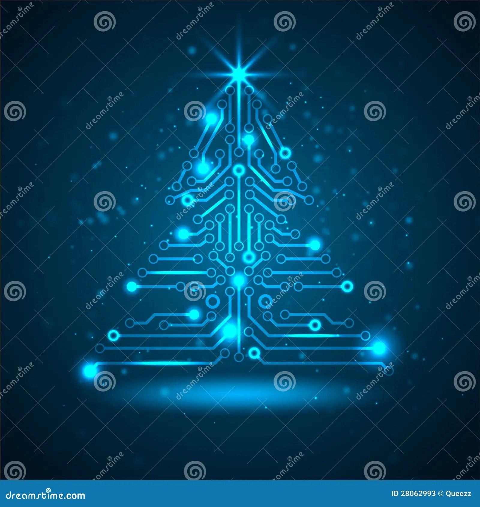 Albero Di Natale Astratto Di Tecnologia Illustrazione
