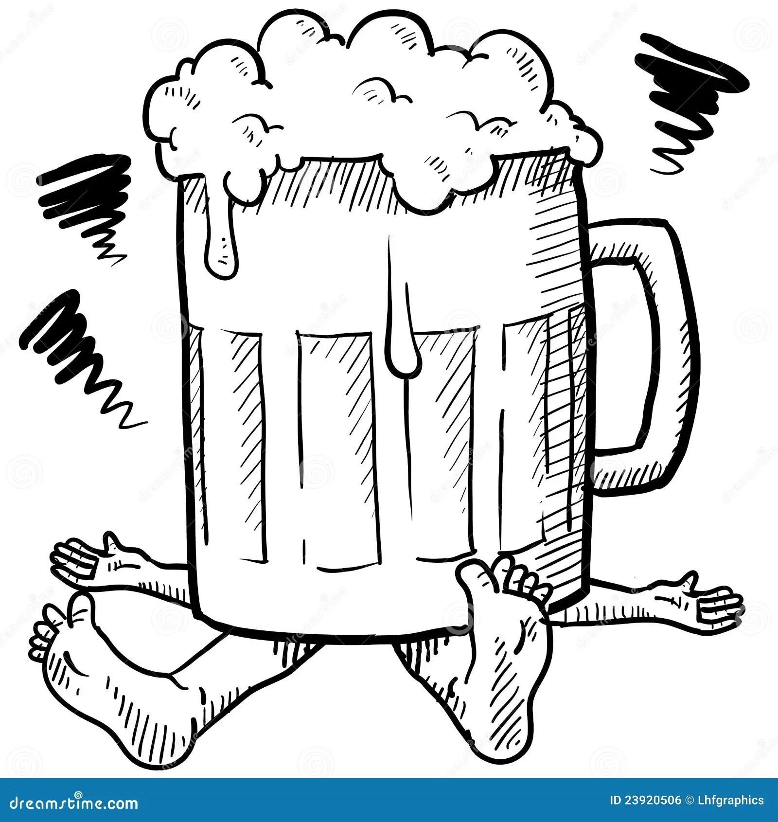 Alcoholism Metaphor Sketch Royalty Free Stock Image