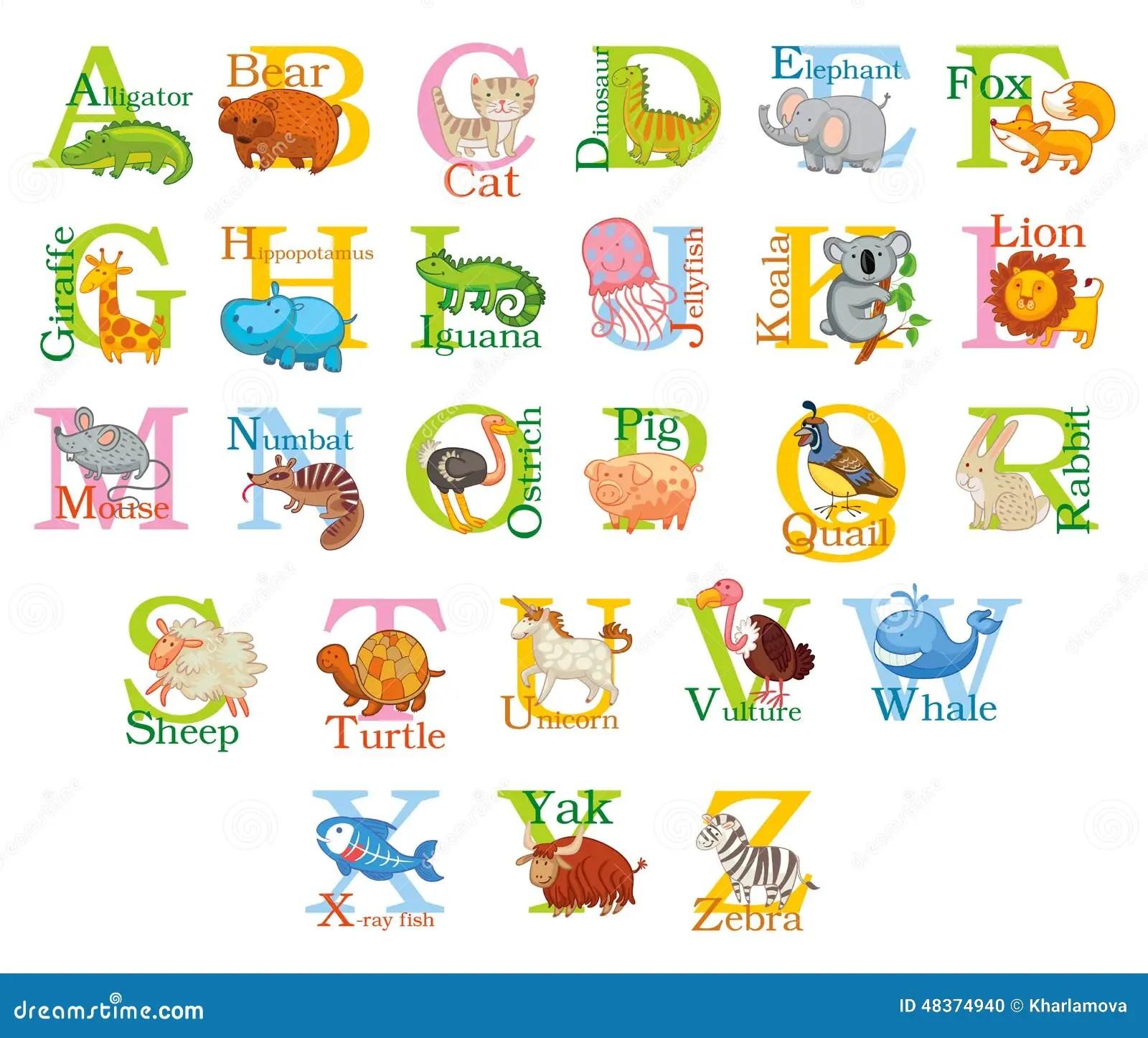 Alfabeto Animal Bonito Ilustracao Do Vetor