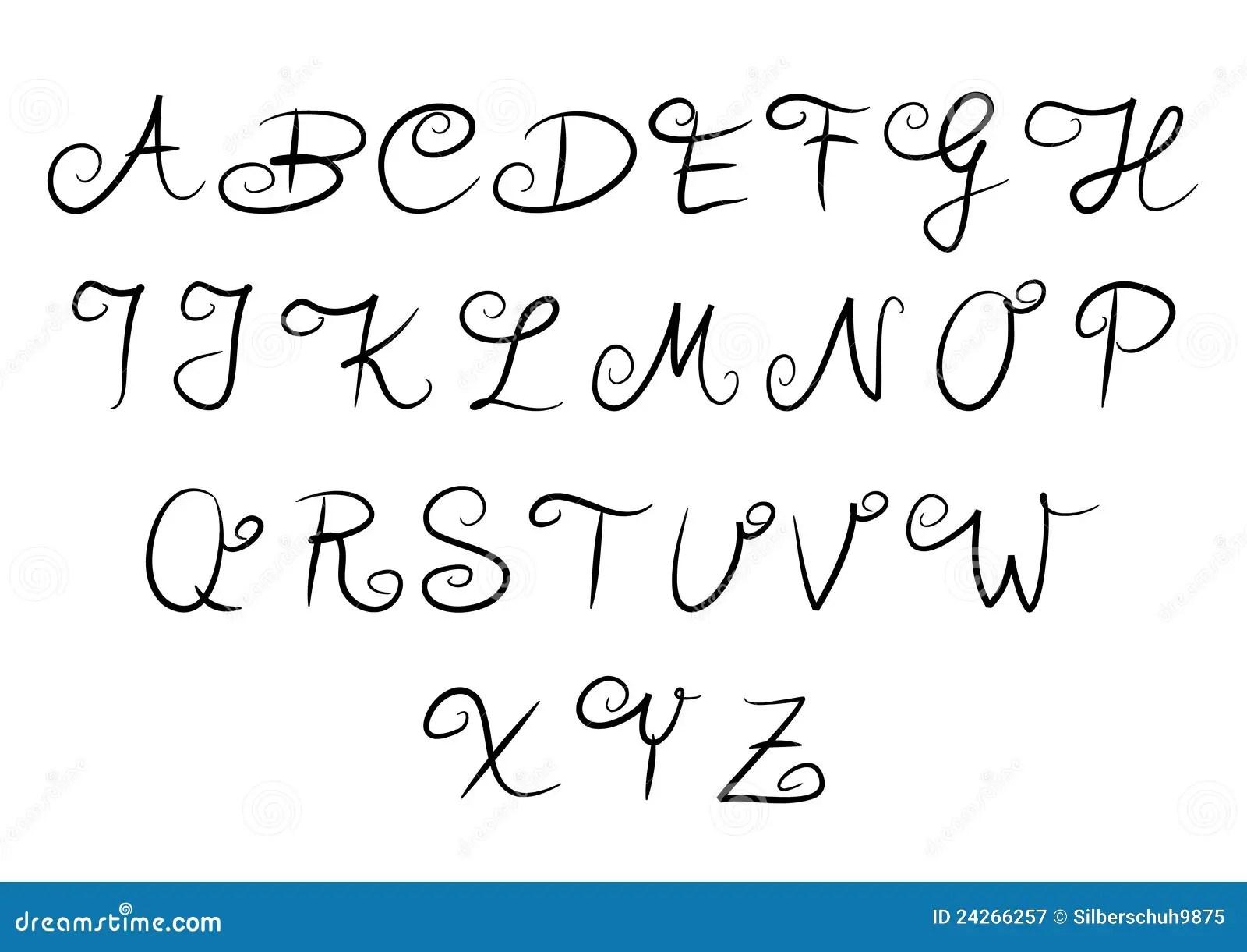 Alfabeto Escrito A Mao Fotografia De Stock Royalty Free