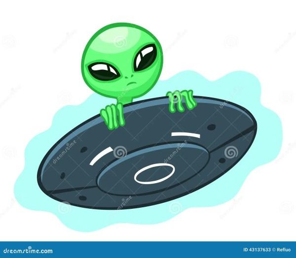 Alien In Flying Saucer Stock Vector Image 43137633