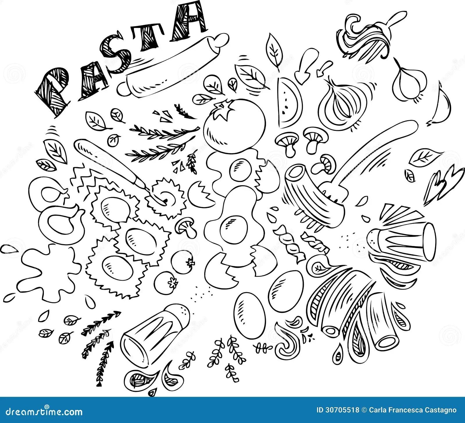 Alimento Italiano Pasta Illustrazione Vettoriale