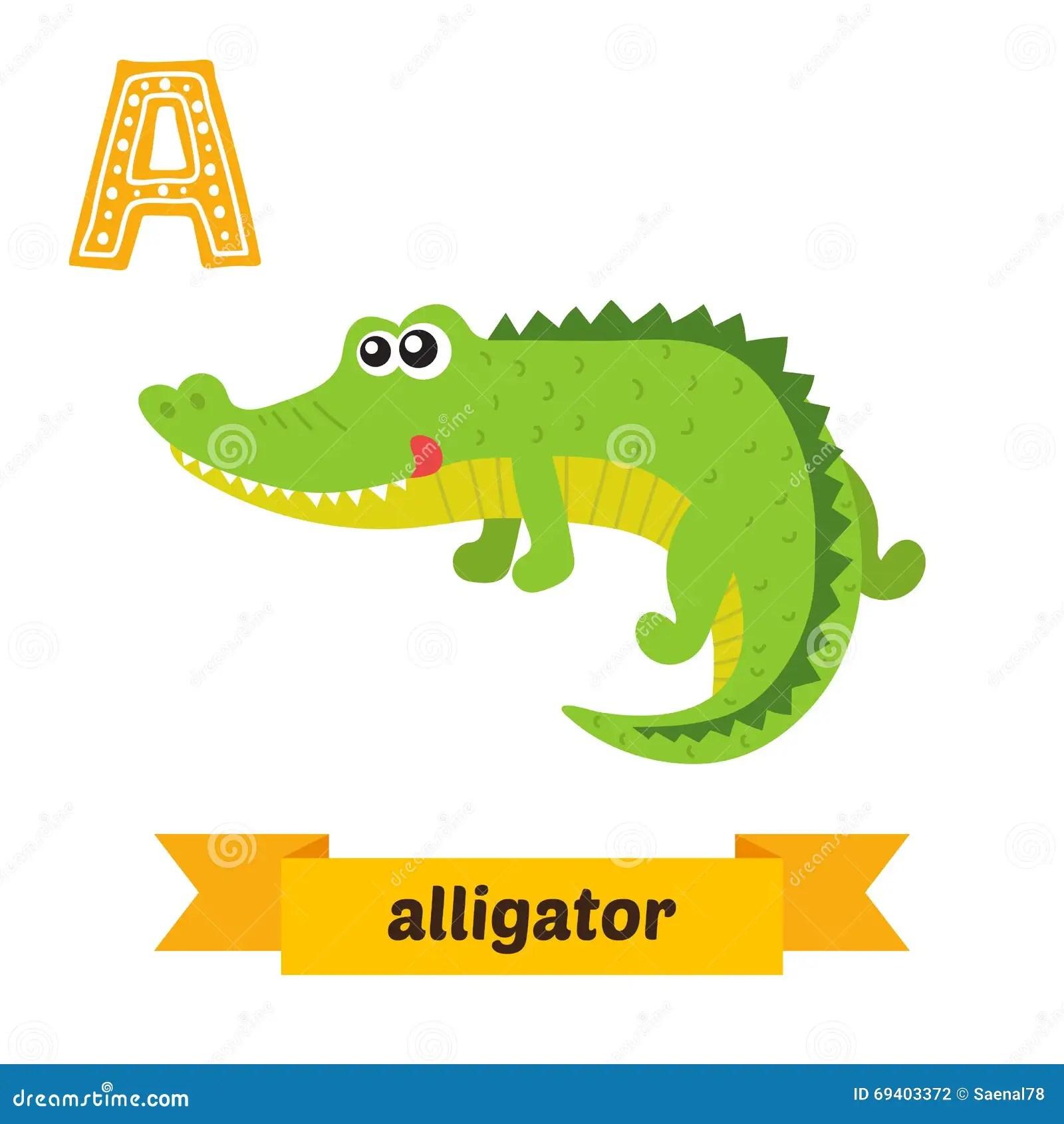 Alligator A Letter Cute Children Animal Alphabet In