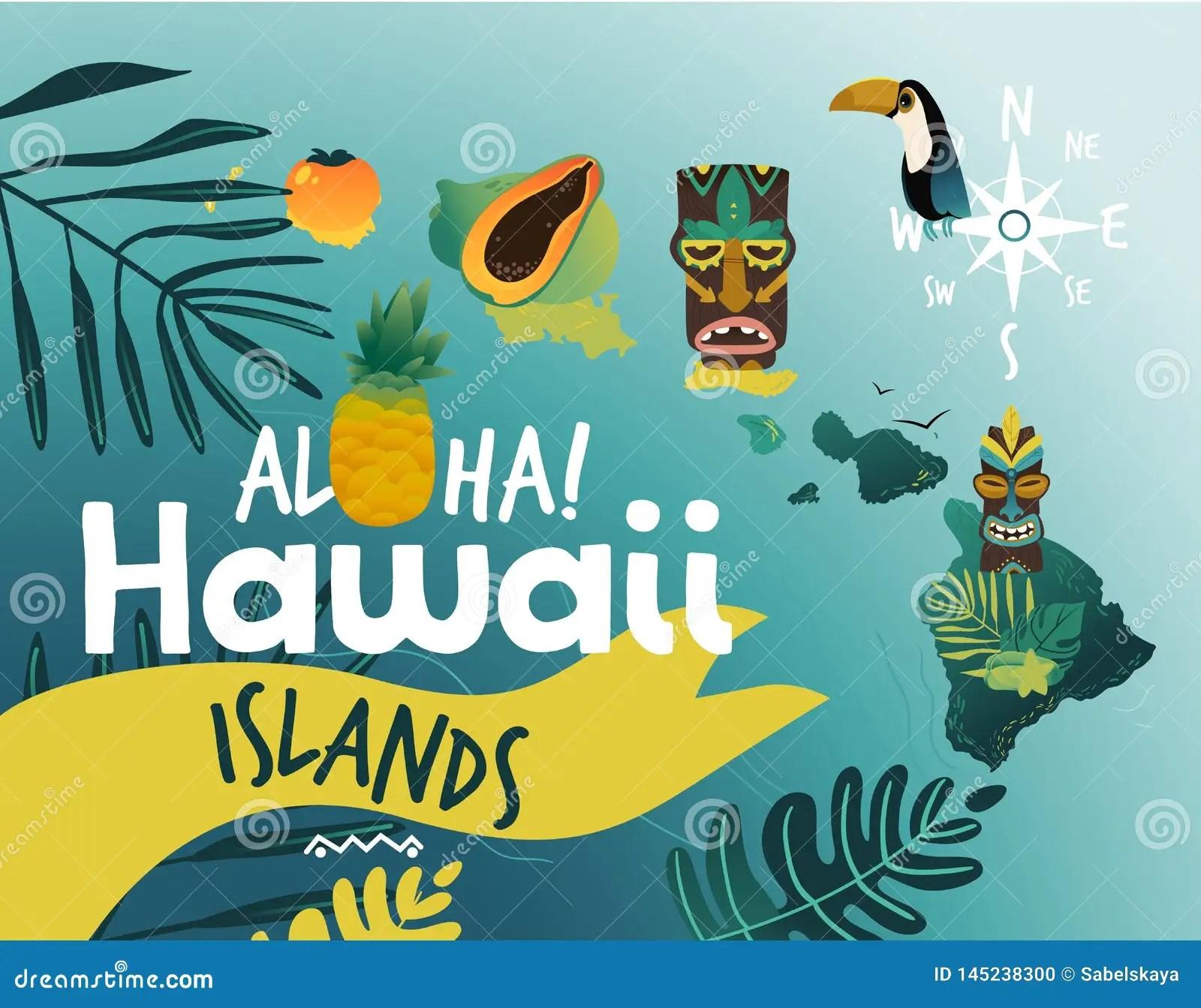 https www dreamstime com aloha hawaii tropical poster design summer beach party famous hawaiian symbols vector illustration exotic travel image145238300