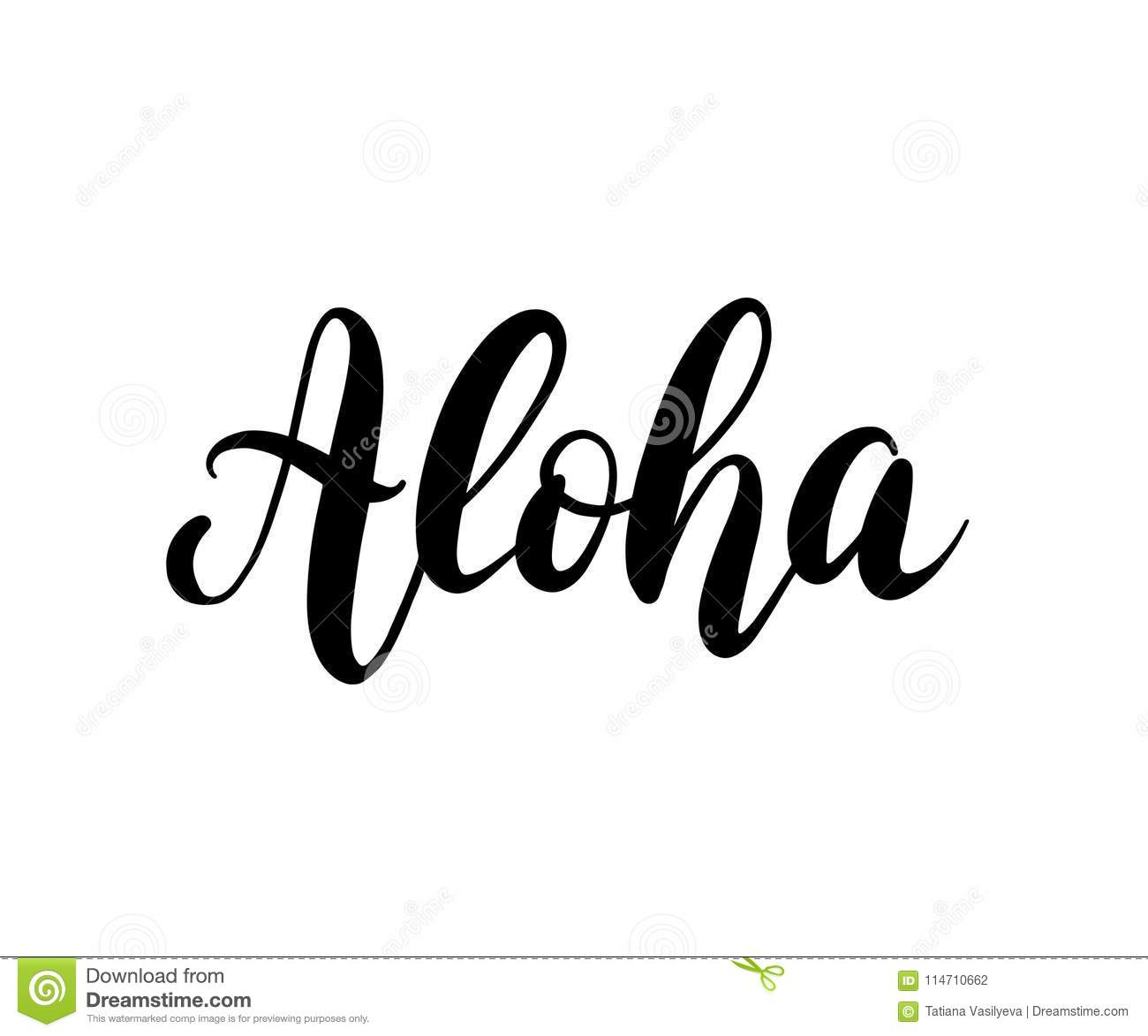 Aloha Word Lettering Brush Calligraphy Vector