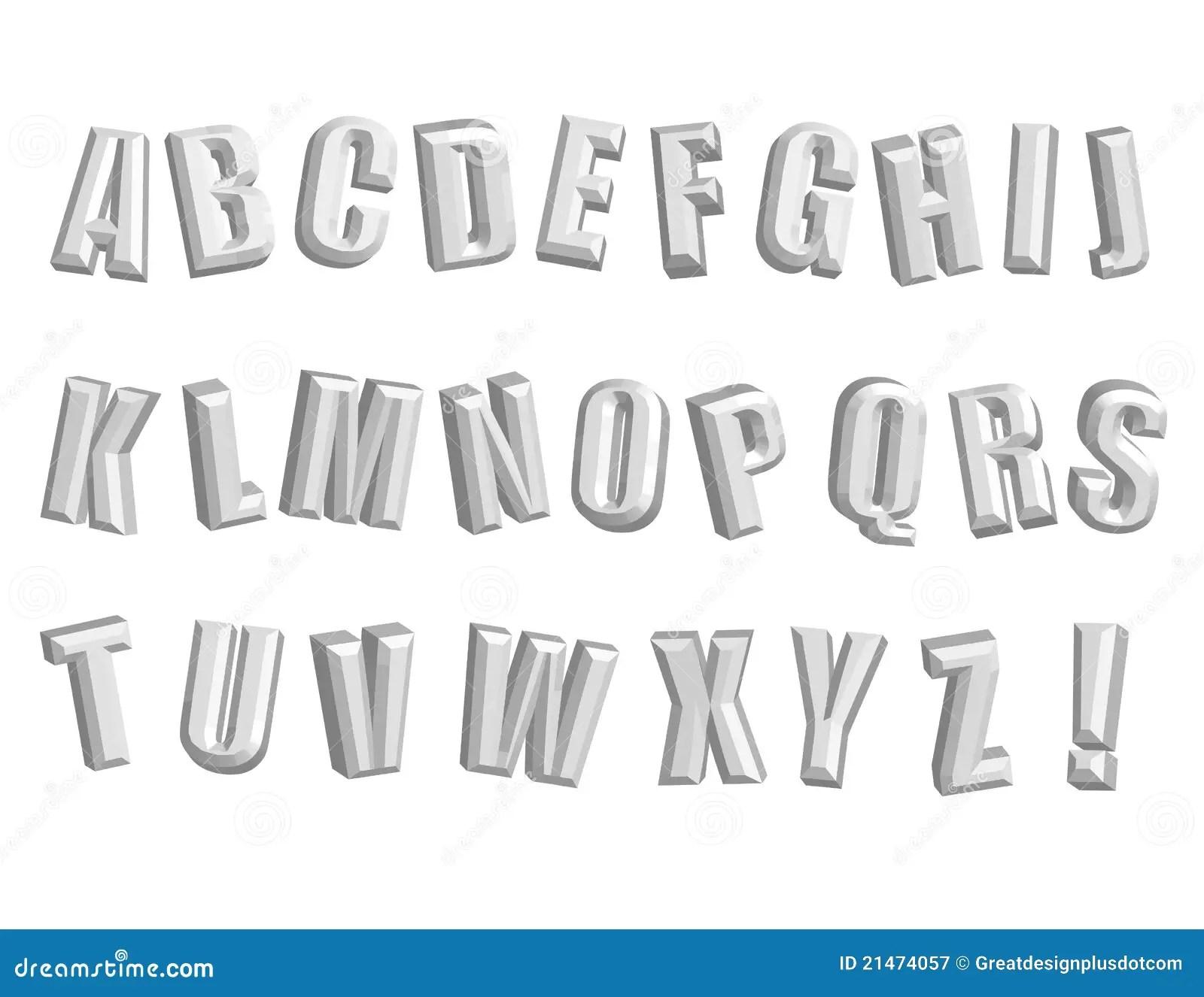 Alphabet 3d Impressionnant Vecteur Clipart Images