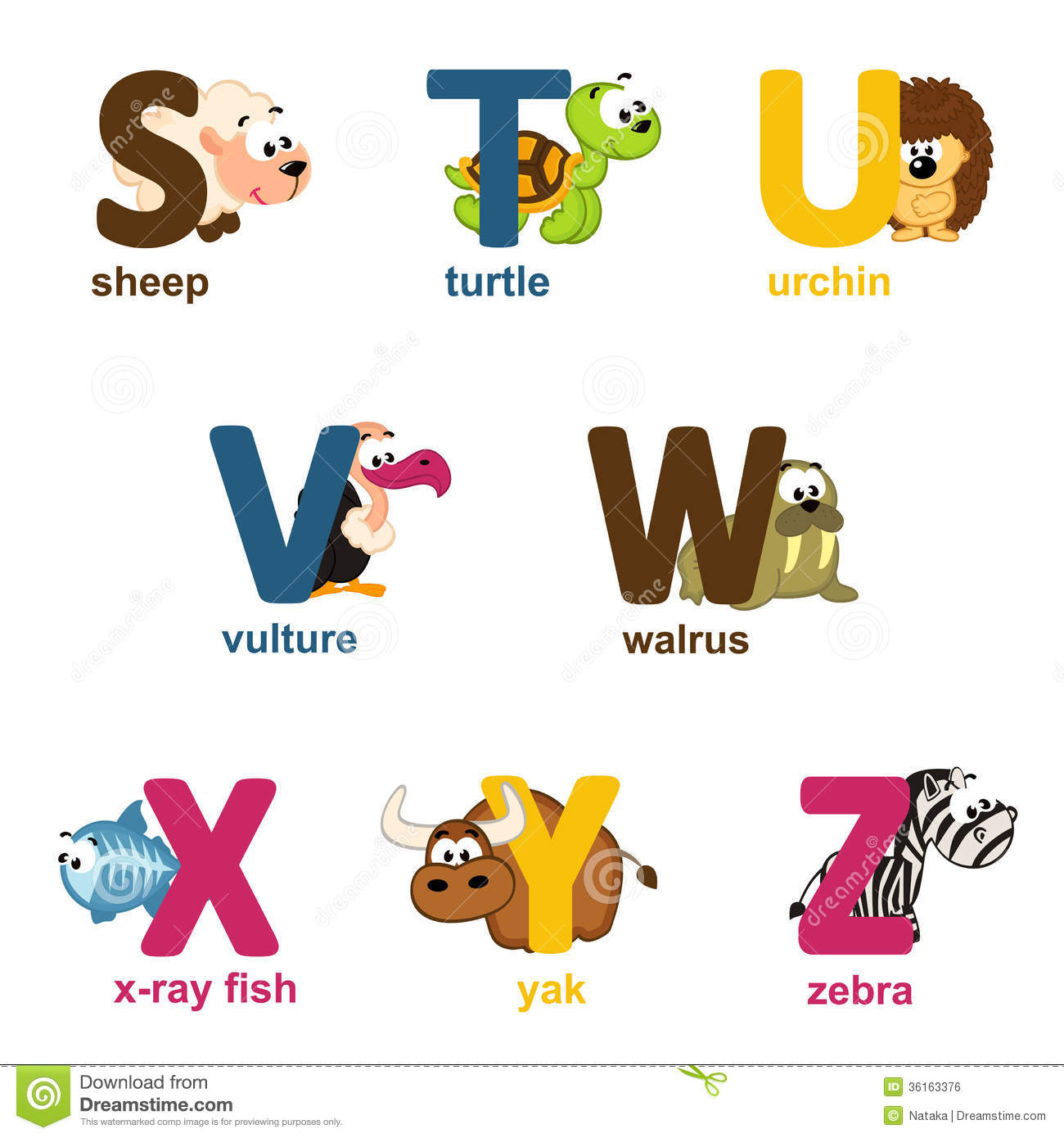 Alphabet Animals From S To Z Stock Vector
