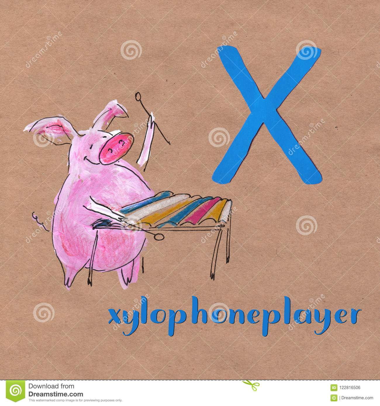 Cartoon X Ray Boy And Xylophone Alphabet Tracing Worksheet Writing A Z And Educational Game