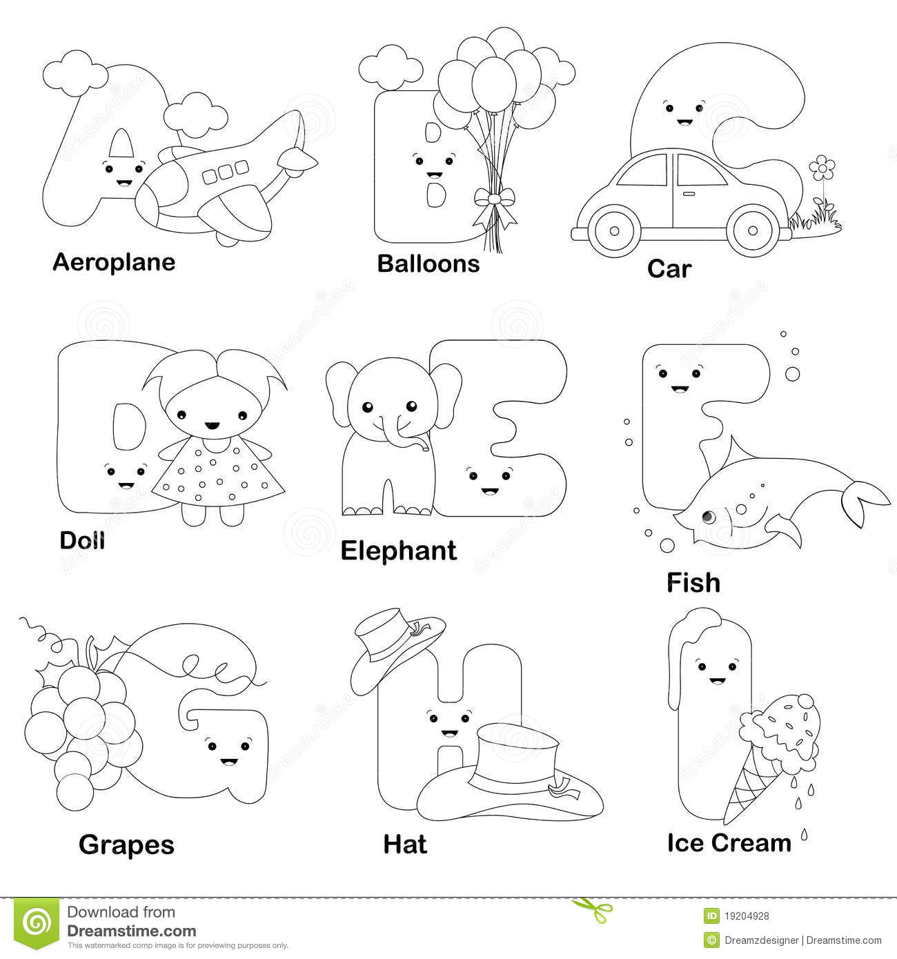 Alphabet Coloring Page Royalty Free Stock Photos