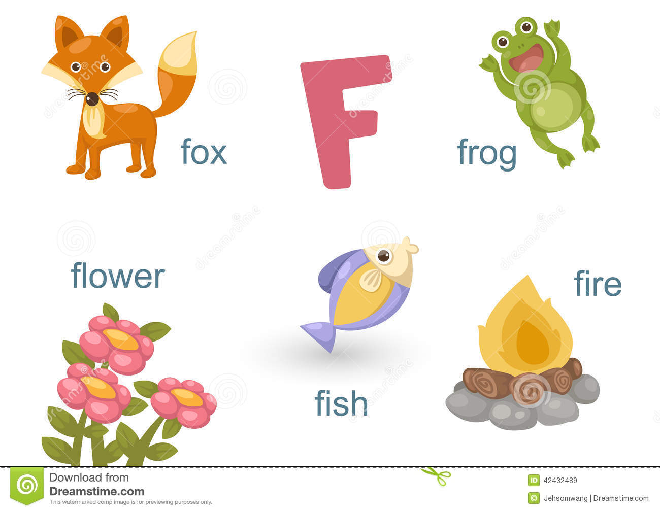 Alphabet F Stock Vector Illustration Of Letter Animal