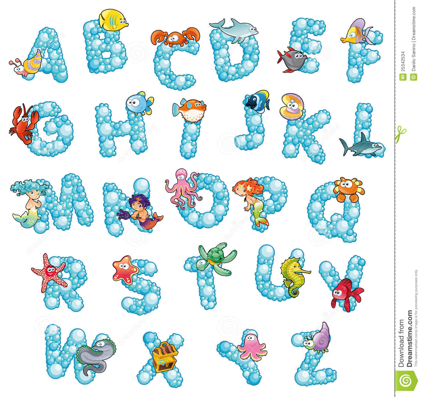 Alphabet With Fish And Bubbles Stock Images