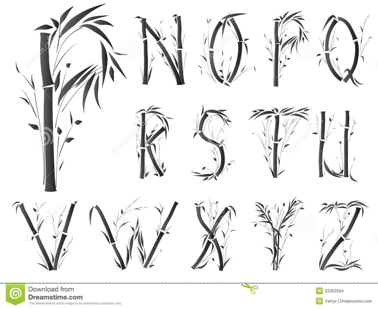Alphabet Font In Asian Style Stock Images