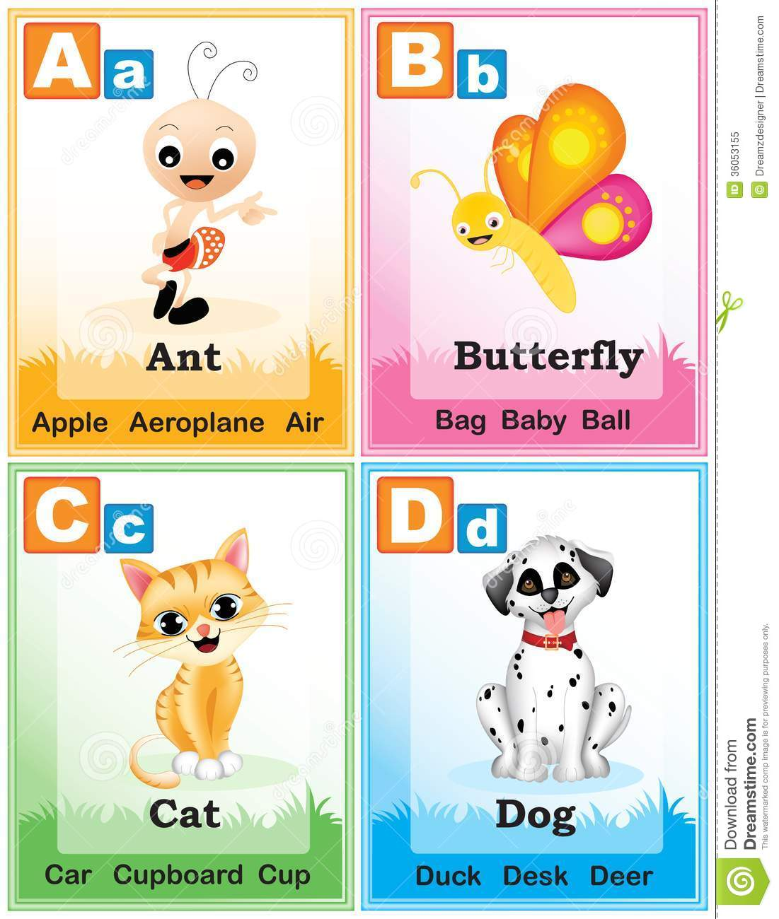 Alphabet Learning Book Page 1 Stock Vector