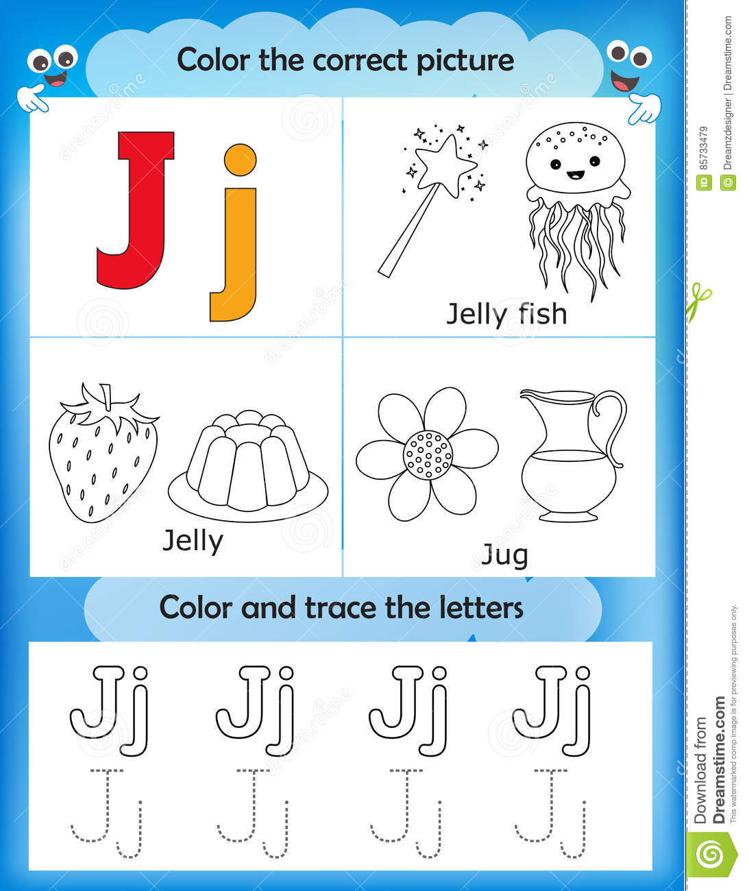 Alphabet Learning And Color Letter J Stock Illustration