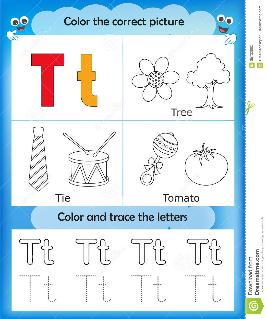 Alphabet Learning And Color Letter T Stock Illustration
