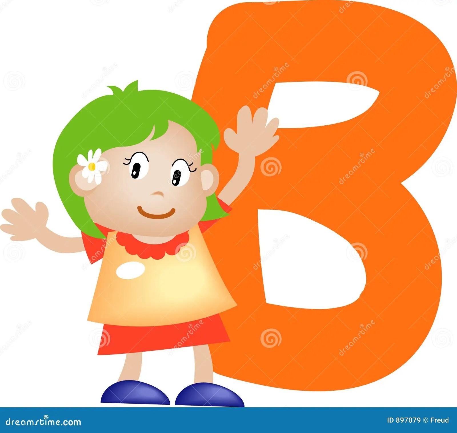 Alphabet Letter B Girl Stock Illustration Image Of